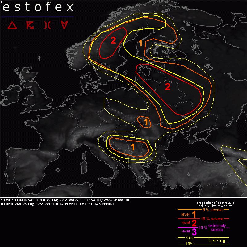 Estofex onweerverwachting Europa